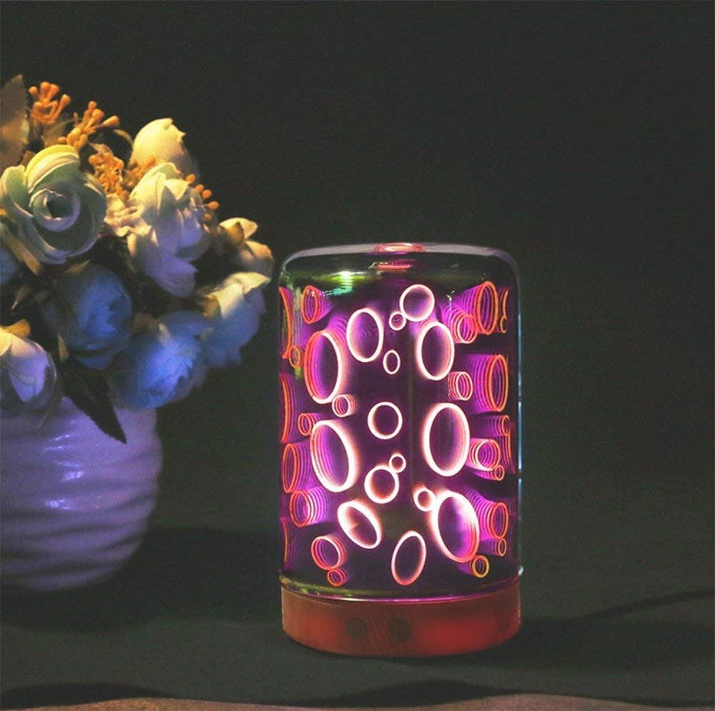 NANIH Home Aromatherapie-l-Diffusor 3D Glas-Ultraschall-Nebel-Luftbefeuchter mit 7 Farbwechsel-LED-Leuchten für Home Yoga Office Spa