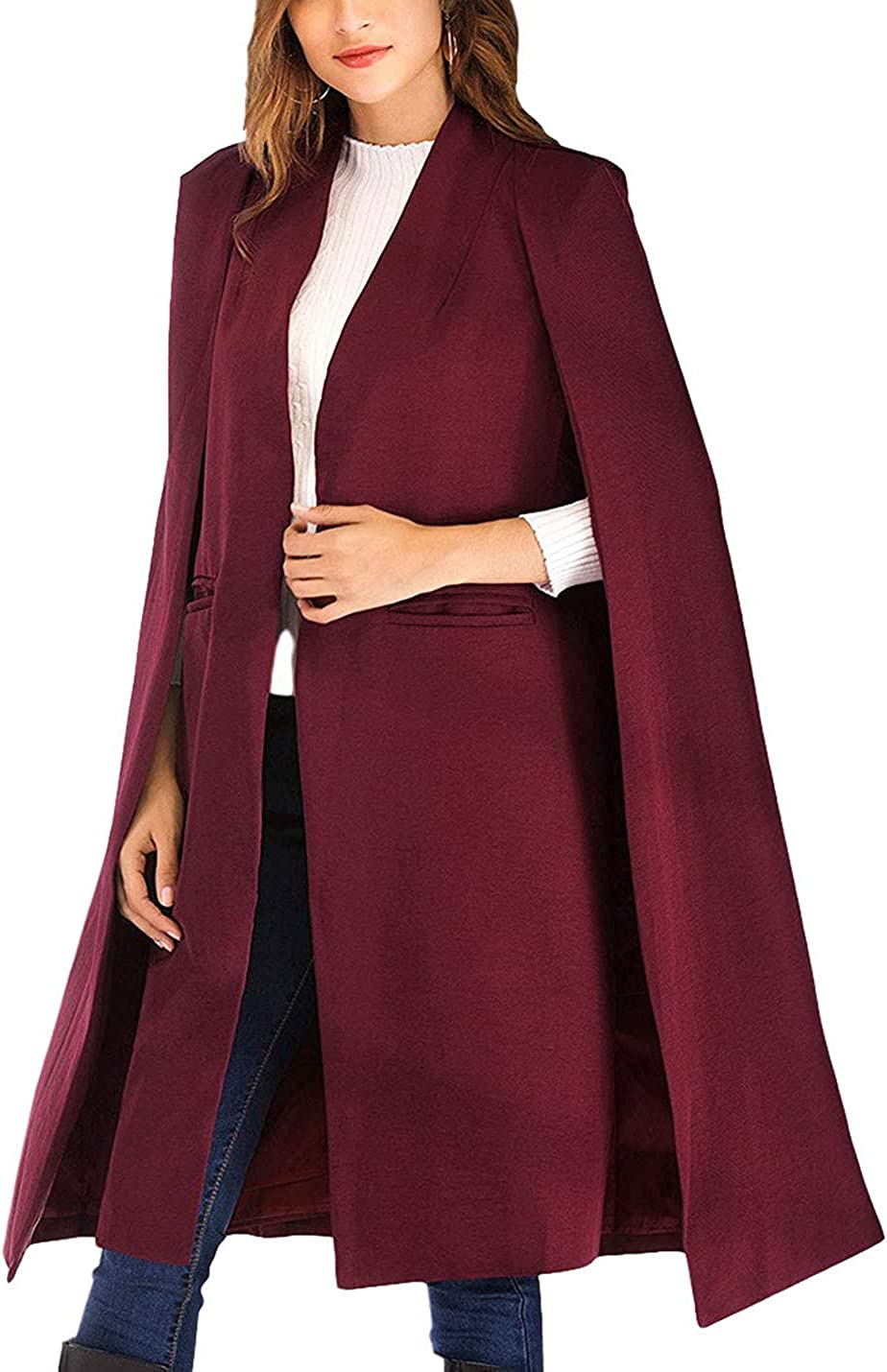 PAODIKUAI Women's Casual Solid Open Cape Cloak Sp trend rank gift Front Longline