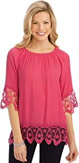 Scallop Lace Trim Top with Scooped Neckline and 3/4 Sleeves - Stylish Woven Top for Everyday Wear