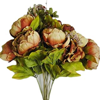 Feefine Fake Flowers ,1Bouquet 8 Heads Vintage Artificial Peony Silk Flowers for Home Centerpieces Wedding Decoration Decor,without vase (coffee)