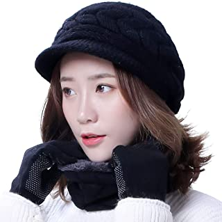 Winter Hats Gloves for Women Knit Warm Snow Ski Outdoor Caps Touch Screen Mittens