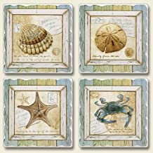 Highland Graphics Treasures From The Sea 4 Absorbent Stone Coasters,blue