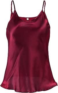 uxcell® Women Plain Slim Fit Spagetti Straps Satin Cami Tank Tops