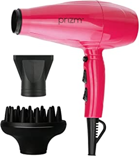 Prizm Professional Ceramic Tourmaline Lightweight Dryer with 1875 Watts of Drying Power. Includes Concentrator and Large Professional Diffuser. (Pink)