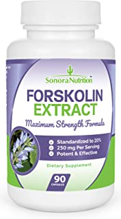 Forskolin Extract Ultimate Weight Loss Formula - 250 mg at 20% for 50 mg Active Forskolin - 90 Capsules/45 Day Supply