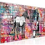 Runa Art Cuadro XXL Banksy Lavado Cebra 200 x 80 cm Vistoso 5 Piezas - Made in Germany - 012955c