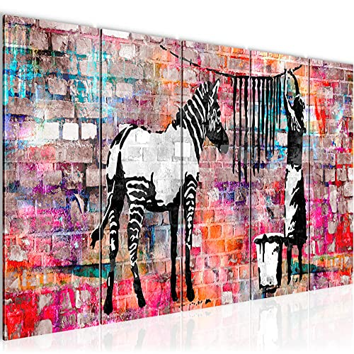 Runa Art Wandbild XXL Banksy Washing Zebra 200 x 80 cm Bunt 5 Teilig - Made in Germany - 012955c