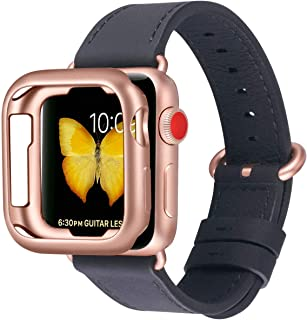 JFdragon Watch Bands with Case Compatible with Apple Watch 38mm 40mm 42mm 44mm Women Men Girls Boys Genuine Leather Strap for iWatch Series 5 4 3 2 1(Black/Rose Gold, 38mm/40mm S/M)