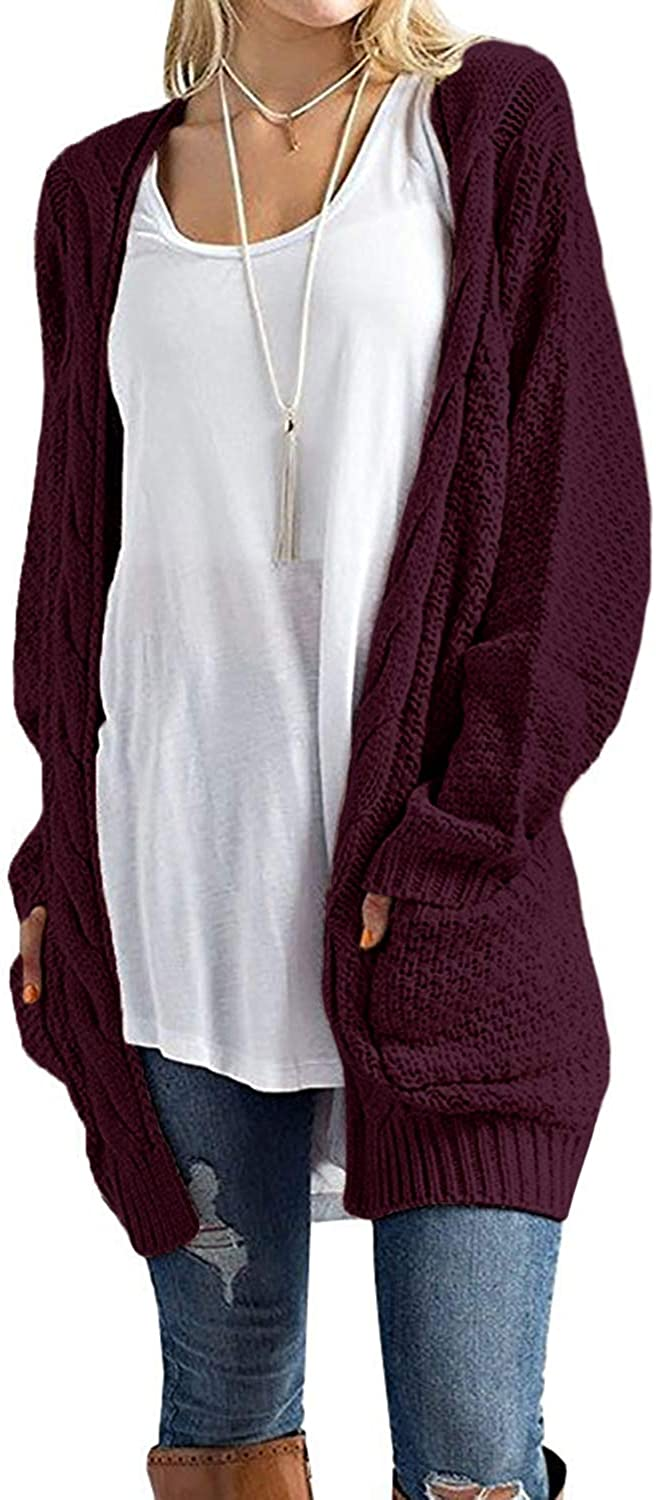 CNFIO Sweater Cardigans for Women Open Front Long Sleeve Chunky Outwear with Pockets