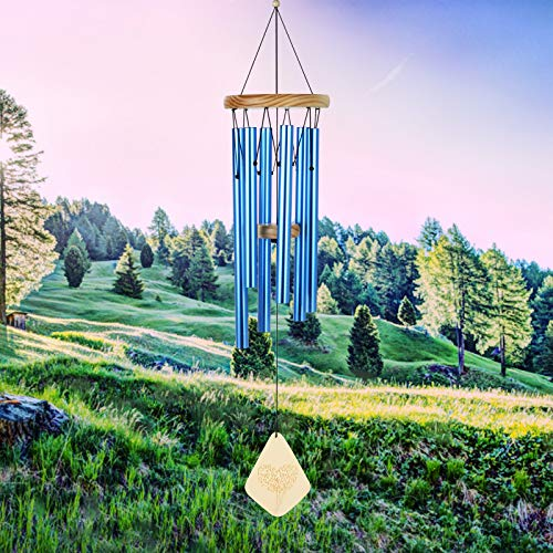 Lemecima Campanelli eolici 31,6 Pollici Decorazione per Interni da Esterno con Toni melodici rilassanti Campana Regolabile con 6 Tasti con modalità Muto, Blu