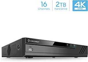 Amcrest NV4116-2TB (16CH 720P/1080P/3MP/4MP/5MP/6MP/8MP/4K) Network Video Recorder - Supports up to 16 x 8-Megapixel IP Cameras, Pre-Installed 2TB Hard Drive (No Built-in WiFi)