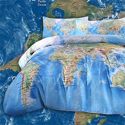 Product Image of the Sleepwish World Map Bedding Duvet Cover Set for Kids Vivid Printed Childrens...