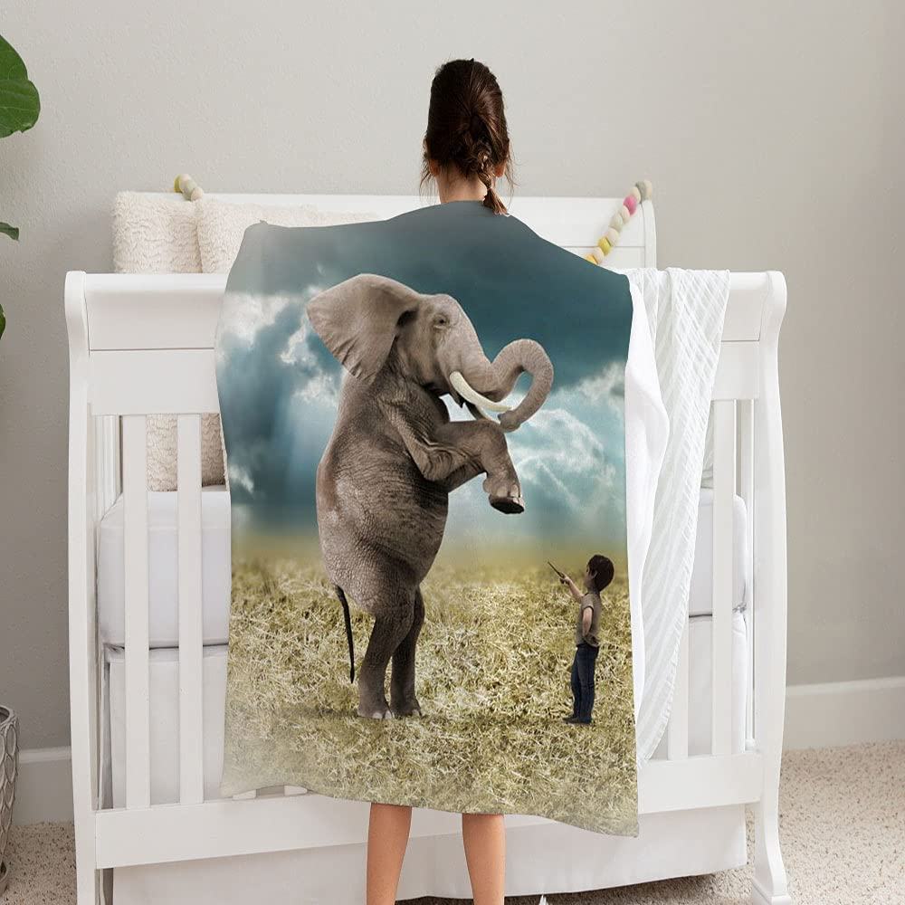 Free Shipping Cheap Bargain Gift price GANTEE Elephant Trained Blanket Super Fleece Blan Cozy Soft and