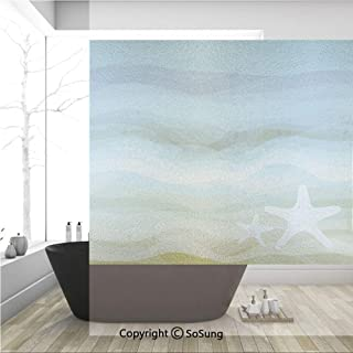 3D Decorative Privacy Window Films,Abstract Design Modern Illustration of Waves Starfish Sandy Beach Aquatic Theme,No-Glue Self Static Cling Glass film for Home Bedroom Bathroom Kitchen Office 36x36 I