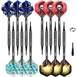 CyeeLife 12 Stück Soft Dartpfeile Softdarts mit PVC Schäften+30 Spitzen+12 Flights+Ring aus Metall