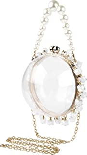 Linkidea Round Ball Clear Purse Acrylic Box, Women Beaded Pearl Evening Party Wedding Bag, Transparent Stadium Approved Cr...