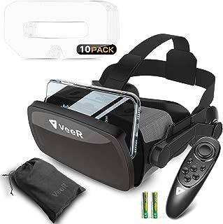 [2代目] VeeR VRゴーグル Bluetoothリモコン付属 ヘッドフン付き 軽量超 4.7-6.3インチのiPhone androidなどのスマホ対応 単4型バッテリ付き VRゴーグル用マスク10枚入付属 家族と共有でき 画質アップ 収納袋付き