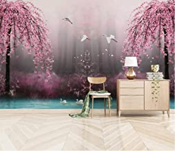 Muurschildering Behang 3D Muur Art Woonkamer Slaapkamer, Roze Wilg Landschap - Foto Art Print Modern Natuur Landschap Cine...