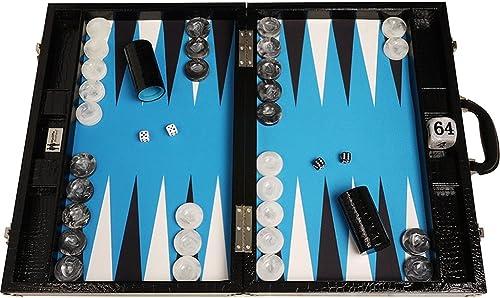 Venta en línea precio bajo descuento Wycliffe Brojohers Tablero de Backgammon Backgammon Backgammon para torneos Diseño de cocodrilo en negro con Campo azul - Gen III  comprar nuevo barato
