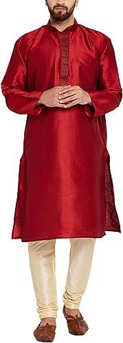 Royal Sojanya Hommes's Silk Kurta Pyjama Medium Maroon And Beige