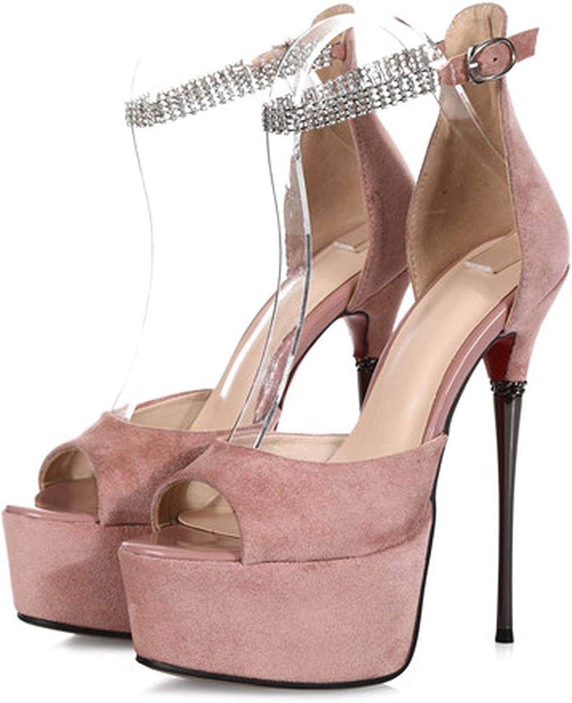 Summer Sandals Women Platform Suede Leather shoes Women Buckle Crystal Super high Thin Heels Prom Women Sandals