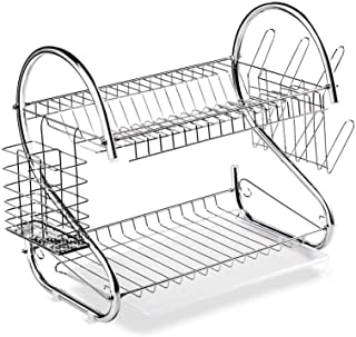 Home Pro Steel Tube S-Shape Dish Rack, 16-Inch Size, Silver