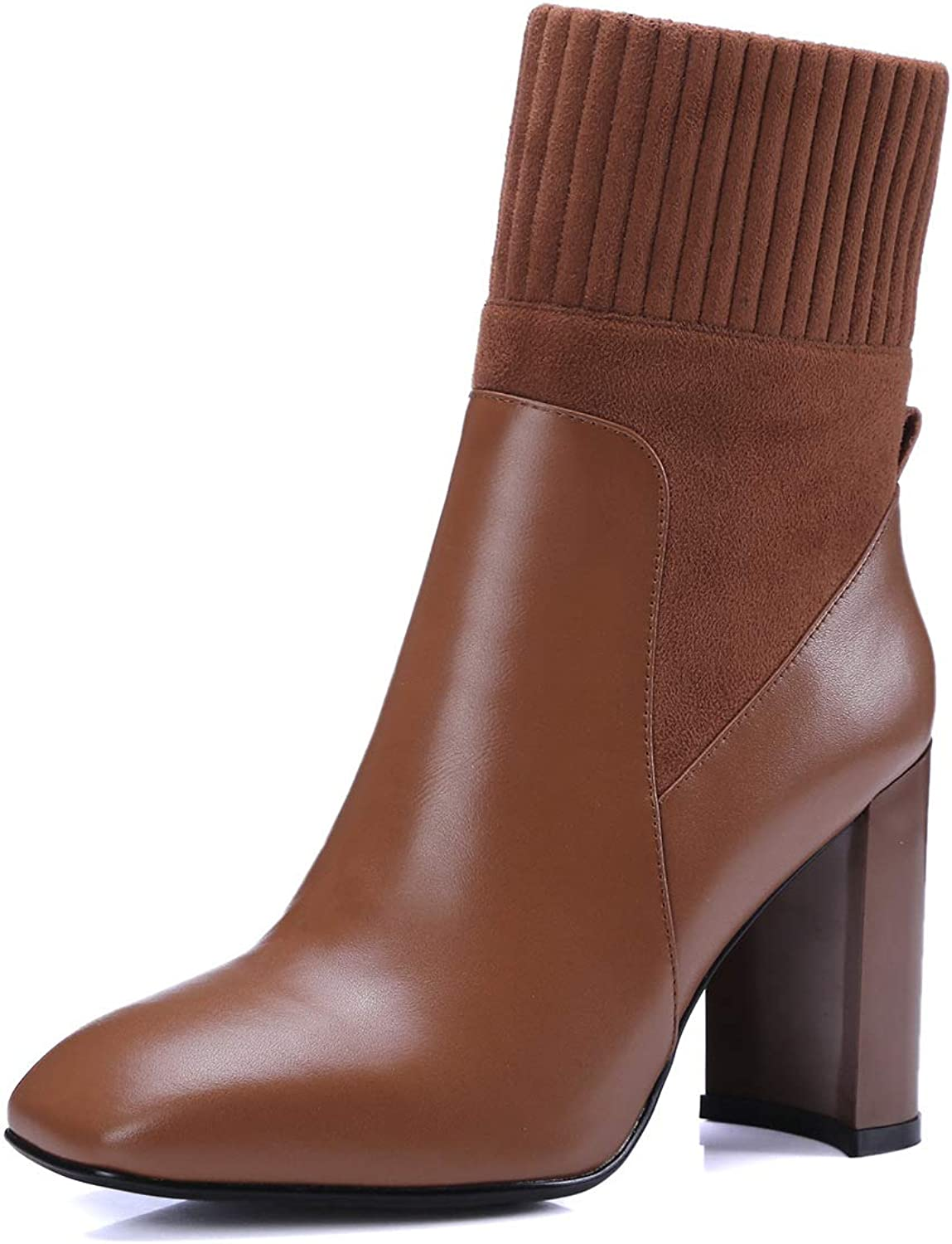 Women's Ankle Boots, Fashion Leather Bare Boots Chunky High Heel Boots, Autumn Zip Up Ankle Bootie, Street Style, Mid Calf Boot (color   B, Size   37)