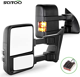SCITOO Towing Mirrors fit for Ford Exterior Accessories Mirrors fit 2003-2007 for Ford F250 F350 F450 F550 Super Duty with Amber Turn Signal Heated Manual Controlling Telescoping and Folding Features