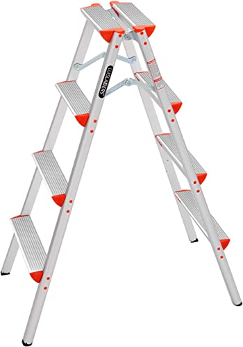 high quality LUISLADDERS Step Ladder Folding Step Stool Lightweight Aluminum Home sale and Kitchen Multi Purpose Portable 4 Step Ladders online sale (330lbs) online