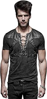 Black Gothic Steampunk Soldier Strappy Short T-Shirt for Men