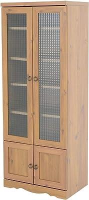 佐藤産業 Bistro キャビネット 食器棚 幅58cm 奥行39.5cm 高さ150cm ブラウン 可動棚 BTC150-60G LBR
