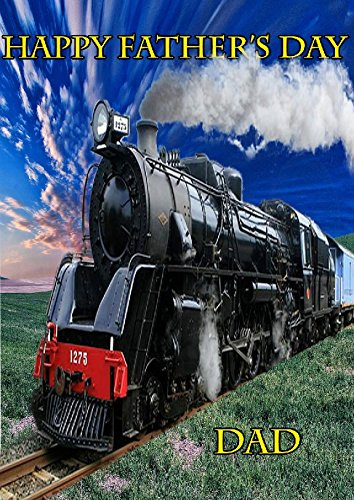 Steam Train nfd112 Fun Happy Father's Day kaart A5 Gepersonaliseerde wenskaarten geplaatst door ons geschenken voor alle 2016 van DERBYSHIRE UK