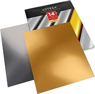 Arteza Vinilo textil termoadhesivo oro y plata | 25,4 x 30,5 cm | 14 hojas flexibles (7 oro + 7 plata)| Vinilo térmico resistente, fácil de pelar y sin tóxicos | Apto para cualquier máquina de corte