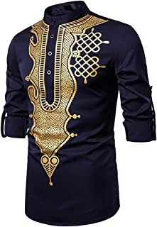 Camisas Hombres, Chaqueta de Manga Larga de Estilo Oriental para Hombres En Blusa de Moda con Estampado Vintage