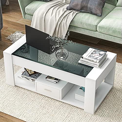 adawd Mesa de centro para salón con tablero de cristal, cajones y...