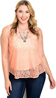 Women Sheer Lace Top Plus Size Solid Peach Scoop Neck Sleeveless