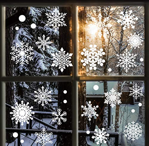 FLY SPRAY Christmas Snowflakes Window Clings 294pcs Christmas Decorations White Winter Wonderland Snowflake Stickers Decal Holiday Frozen Theme Party Ornaments Supplies for Windows Glass Doors
