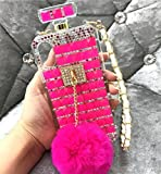 Losin Perfume Case Compatible with Apple iPhone 6 Plus/iPhone 6S Plus 5.5 in Luxury Bling Diamond Rhinestone Bow Perfume Bottle Furry Plush Ball Bling Glitter Gemstone Soft TPU Back Case with Lanyard