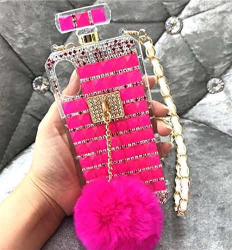 Losin Perfume Case Compatible with Apple iPhone 7 Plus/iPhone 8 Plus 5.5 in Luxury Bling Diamond Rhinestone Bow Perfume Bottle Furry Plush Ball Bling Glitter Gemstone Soft TPU Back Case with Lanyard