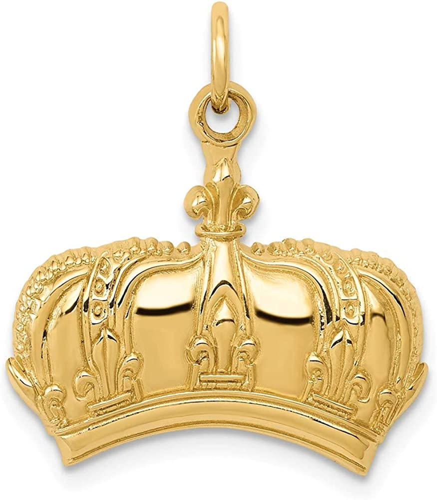 14K Max 88% OFF Shipping included Yellow Gold Fleur Charm Crown Lis De