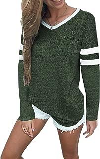 Womens Baseball Tee Long Sleeve V Neck Loose Striped Tshirt Tunic Top with Pocket