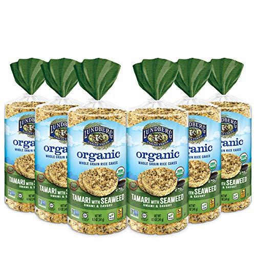 Lundberg Organic Brown Rice Cakes, Tamari with Seaweed, 8.5 oz (Pack of 6), Gluten-Free, Vegan, Healthy Snacks