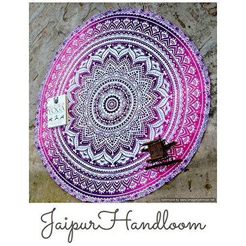 'jaipurhandloom indio Mandala redondo Roundie Beach Manta Tapiz Hippy Boho Gypsy algodón mantel toalla de playa redondo, colchoneta de yoga, 180cm o 72inch Round