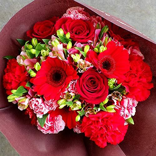 焼き菓子 7個入りボックスとレッド系 花束セット ( 誕生日 敬老の日 プレゼント 女性 スイーツセット ( 花とスイーツ フラワーギフト バラ ガーベラ カーネーション お花 フラワー 赤系)
