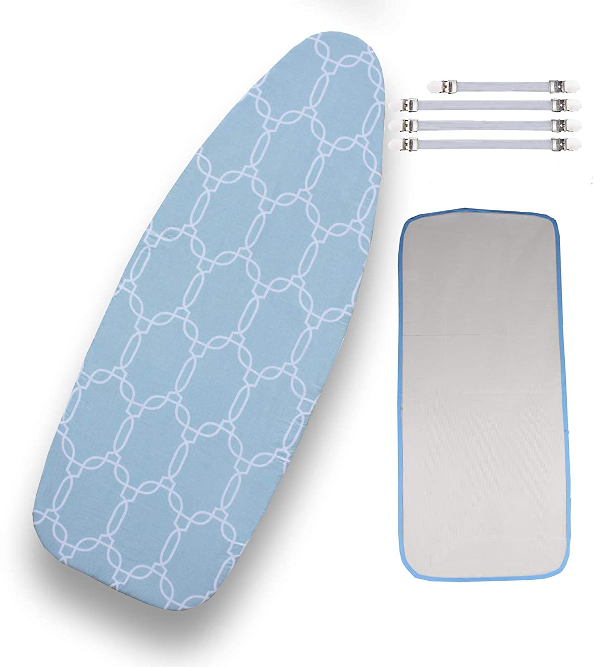 Extra-Wide Ironing Board Cover Bundle 6 Items: 1 Extra Thick Felt Pad, Heat Resistanta, and Scorch Resistant Cover [18