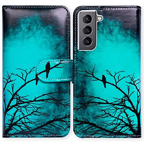 Bcov Schutzhülle für Samsung Galaxy S21 Plus / 5G, Leder, mit Kartenschlitzen, Standfunktion, Schwarz / Grün