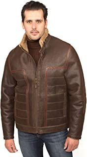 Aston Leather Men's Verrazano Shearling Coat Rugged Castano