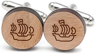 Spanish Ship Cufflinks, Wood Cufflinks Hand Made in The USA
