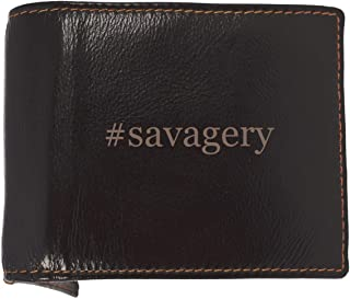 #savagery - Soft Hashtag Cowhide Genuine Engraved Bifold Leather Wallet