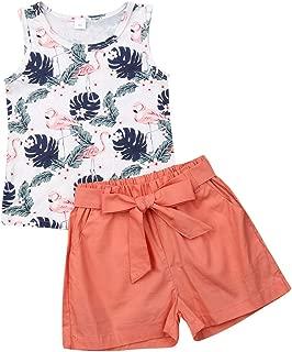 Koloyooya 2PCS Toddler Kids Baby Girl Outfit Clothes Flamingo Vest Tops+Short Pants Set
